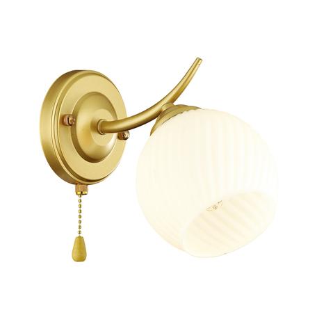 Бра Lumion Comfi Giselle 4545/1W, 1xE27x60W, матовое золото, белый, металл, стекло