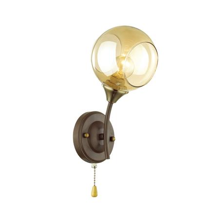Бра Lumion Comfi Ashton 4550/1W, 1xE27x60W, коричневый, янтарь, металл, стекло
