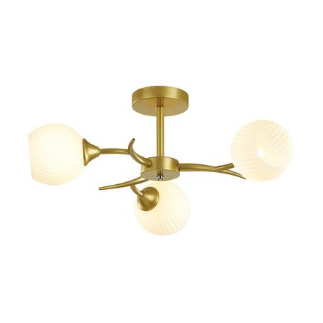 Потолочная люстра Lumion Comfi Giselle 4545/3C, 3xE27x60W, матовое золото, белый, металл, стекло