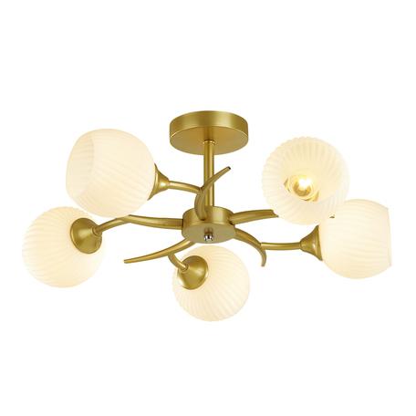 Потолочная люстра Lumion Comfi Giselle 4545/5C, 5xE27x60W, матовое золото, белый, металл, стекло