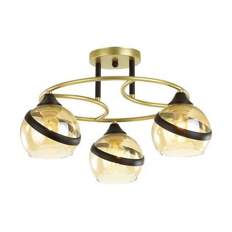 Потолочная люстра Lumion Comfi Eden 4547/3C, 3xE27x60W, матовое золото, янтарь, металл, стекло