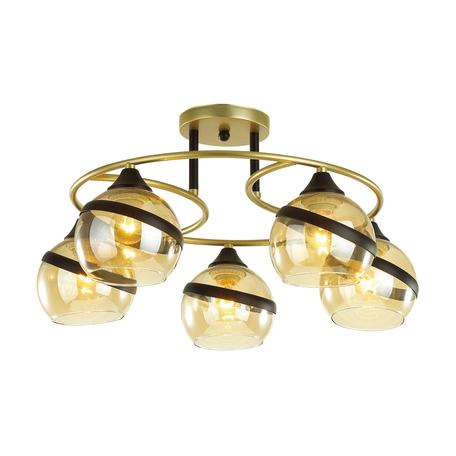Потолочная люстра Lumion Comfi Eden 4547/5C, 5xE27x60W, матовое золото, янтарь, металл, стекло
