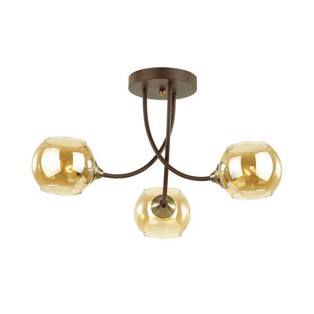 Потолочная люстра Lumion Comfi Ashton 4550/3C, 3xE27x60W, коричневый, янтарь, металл, стекло