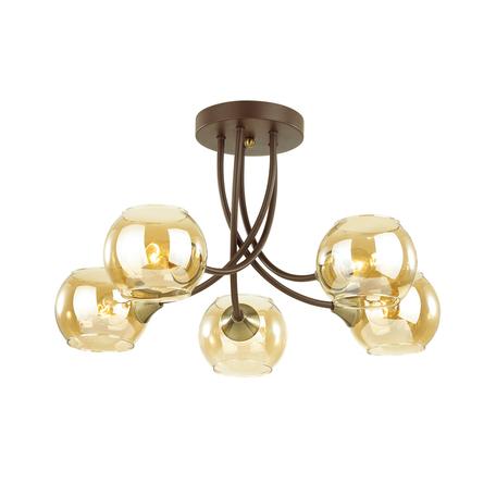 Потолочная люстра Lumion Comfi Ashton 4550/5C, 5xE27x60W, коричневый, янтарь, металл, стекло