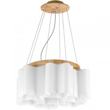 Подвесная люстра Lightstar Nubi Legno 802165, 6xE27x40W, коричневый, белый, дерево, стекло