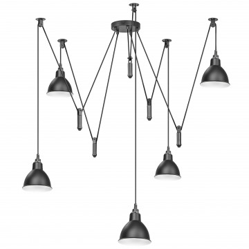 Люстра-паук Lightstar Acrobata 761057, 5xE14x40W, черный, металл