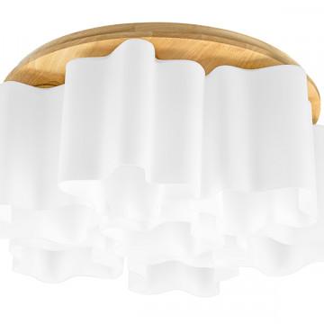 Потолочная люстра Lightstar Nubi Legno 802075, 7xE27x40W, коричневый, белый, дерево, стекло
