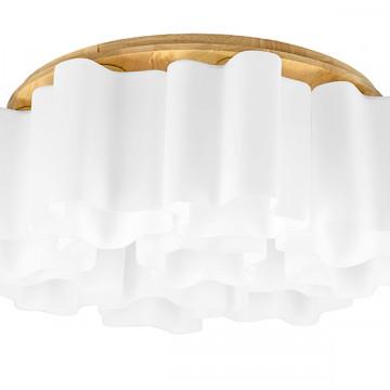 Потолочная люстра Lightstar Nubi Legno 802095, 9xE27x40W, коричневый, белый, дерево, стекло