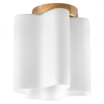 Потолочный светильник Lightstar Nubi Legno 802015, 1xE27x40W, коричневый, белый, дерево, стекло