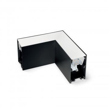 L-осветодиодное бразный соединитель для модульной системы Ideal Lux FLUO CORNER 3000K BLACK 191430, LED 8W 3000K 750lm CRI≥83, черный, металл, пластик