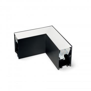 L-осветодиодное бразный соединитель для модульной системы Ideal Lux FLUO CORNER 4000K BLACK 191461, LED 8W 4000K 800lm CRI≥83, черный, металл, пластик