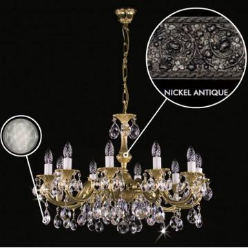 Подвесная люстра Artglass ALICE X. NICKEL ANTIQUE CE - 8006, 10xE14x40W, белый, никель, дымчатый, металл, хрусталь Artglass Crystal Exclusive