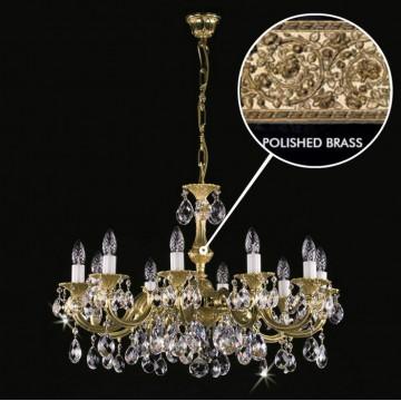 Подвесная люстра Artglass ALICE X. POLISHED CE, 10xE14x40W, белый с золотом, прозрачный, металл, хрусталь Artglass Crystal Exclusive