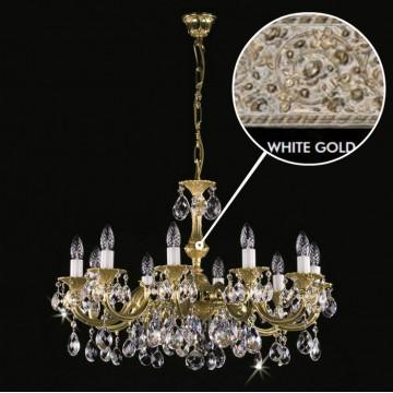 Подвесная люстра Artglass ALICE X. WHITE GOLD CE, 10xE14x40W, белый, матовое золото, прозрачный, металл, хрусталь Artglass Crystal Exclusive