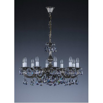 Подвесная люстра Artglass ALICE X. NICKEL SP, 10xE14x40W, кристаллы SPECTRA Swarovski