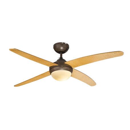 Потолочный светильник-вентилятор с пультом ДУ Globo Lizz 03385G, 1xE14x60W, металл, дерево, стекло