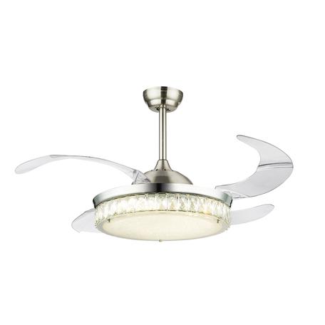 Потолочный светодиодный светильник-вентилятор с пультом ДУ Globo Cabrera 0352, металл, стекло