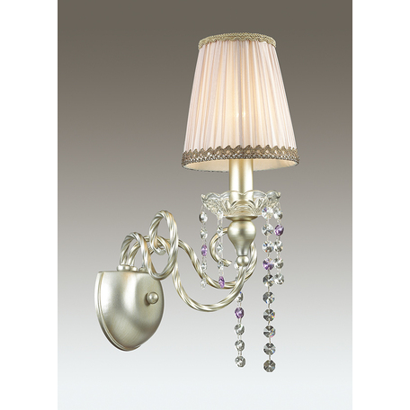Бра Odeon Light Classic Aurelia 3390/1W, 1xE14x40W, серебро, бежевый, фиолетовый, металл, текстиль, хрусталь - миниатюра 1