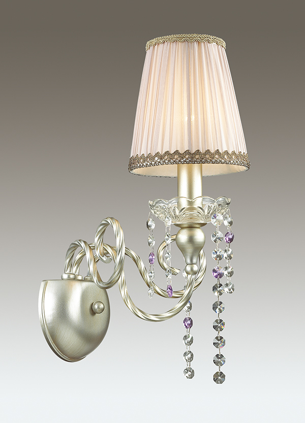 Бра Odeon Light Classic Aurelia 3390/1W, 1xE14x40W, серебро, бежевый, фиолетовый, металл, текстиль, хрусталь - фото 1