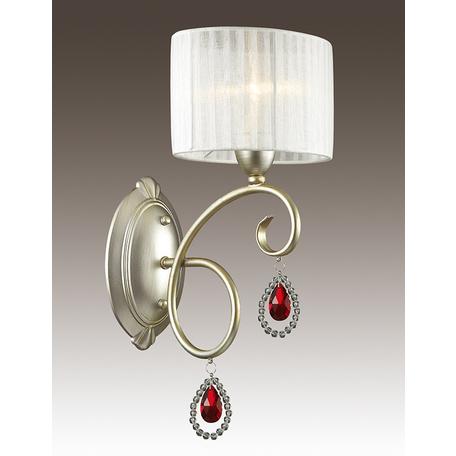 Бра Odeon Light Verenissa 3392/1W, 1xE14x40W, золото, белый, красный, прозрачный, металл, текстиль, хрусталь