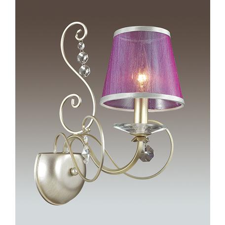 Бра Odeon Light Zibille 3396/1W, 1xE14x40W, золото, фиолетовый, прозрачный, металл, текстиль, хрусталь