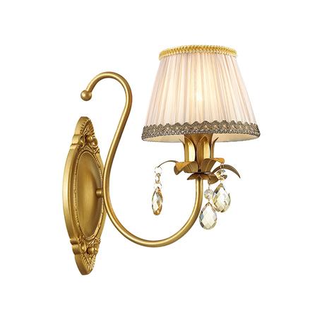 Бра Odeon Light Classic Carolla 3398/1W, 1xE14x40W, матовое золото, белый, коньячный, металл, текстиль, хрусталь