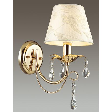 Бра Odeon Light Plesansa 3431/1W, 1xE14x40W, золото, белый, прозрачный, металл, текстиль, хрусталь