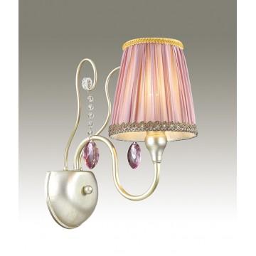 Бра Odeon Light Gaellori 3393/1W, 1xE14x40W, золото, прозрачный, фиолетовый, металл, стекло, текстиль, хрусталь
