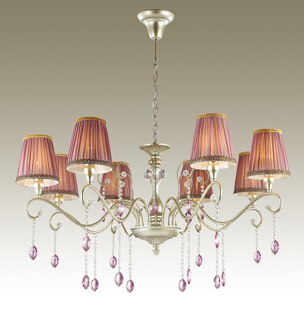 Подвесная люстра Odeon Light Gaellori 3393/8, 8xE14x40W, золото, прозрачный, фиолетовый, металл, стекло, текстиль, хрусталь - фото 1