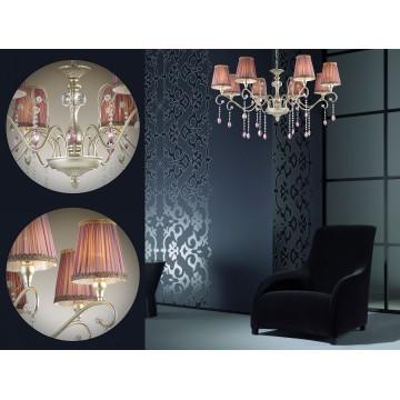 Подвесная люстра Odeon Light Gaellori 3393/8, 8xE14x40W, золото, прозрачный, фиолетовый, металл, стекло, текстиль, хрусталь - миниатюра 3