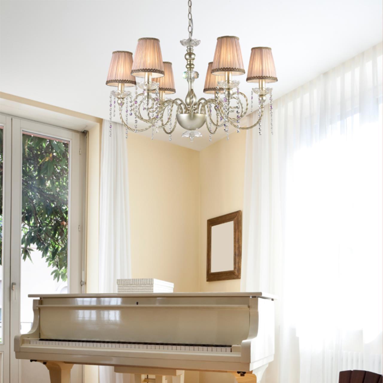 Подвесная люстра Odeon Light Aurelia 3390/6, 6xE14x40W, золото, прозрачный, бежевый, фиолетовый, металл, текстиль, хрусталь - фото 2