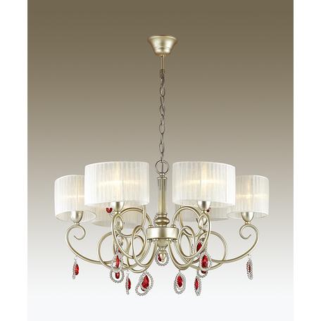 Подвесная люстра Odeon Light Verenissa 3392/6, 6xE14x40W, золото, белый, красный, прозрачный, металл, текстиль, хрусталь