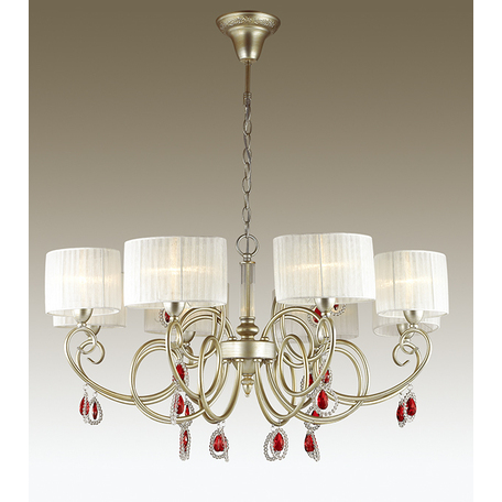 Подвесная люстра Odeon Light Verenissa 3392/8, 8xE14x40W, золото, белый, красный, прозрачный, металл, текстиль, хрусталь - миниатюра 1