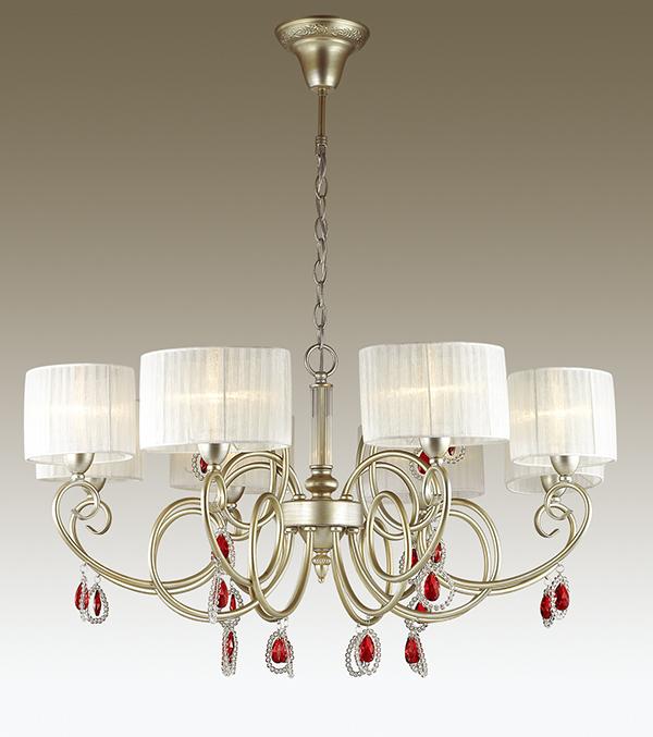 Подвесная люстра Odeon Light Verenissa 3392/8, 8xE14x40W, золото, белый, красный, прозрачный, металл, текстиль, хрусталь - фото 1
