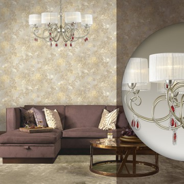 Подвесная люстра Odeon Light Verenissa 3392/8, 8xE14x40W, золото, белый, красный, прозрачный, металл, текстиль, хрусталь - миниатюра 2