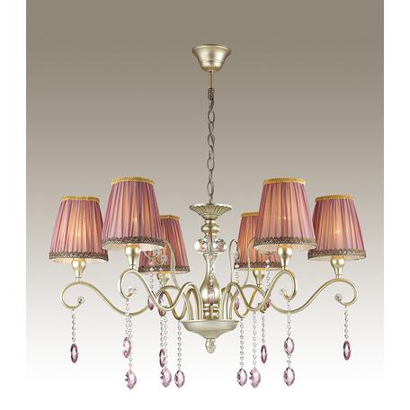 Подвесная люстра Odeon Light Gaellori 3393/6, 6xE14x40W, золото, прозрачный, фиолетовый, металл, стекло, текстиль, хрусталь
