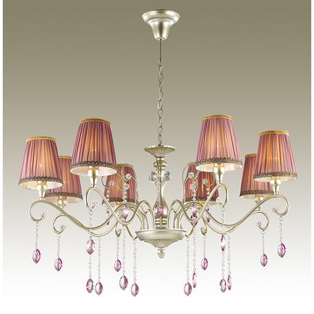 Подвесная люстра Odeon Light Gaellori 3393/8, 8xE14x40W, золото, прозрачный, фиолетовый, металл, стекло, текстиль, хрусталь - миниатюра 1