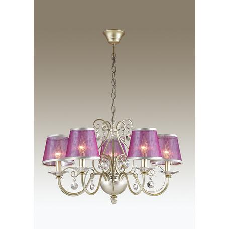 Подвесная люстра Odeon Light Zibille 3396/5, 5xE14x40W, золото, фиолетовый, прозрачный, металл, текстиль, хрусталь