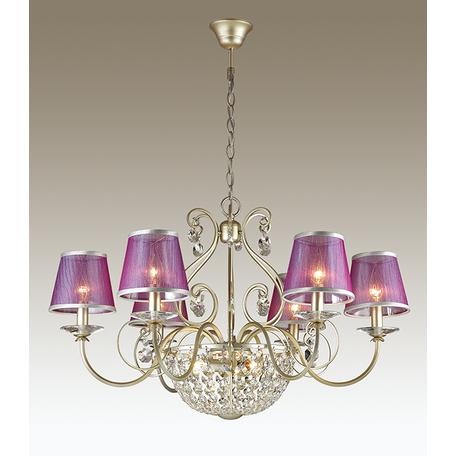 Подвесная люстра Odeon Light Zibille 3396/9, 9xE14x40W, золото, фиолетовый, прозрачный, металл, текстиль, хрусталь - миниатюра 1