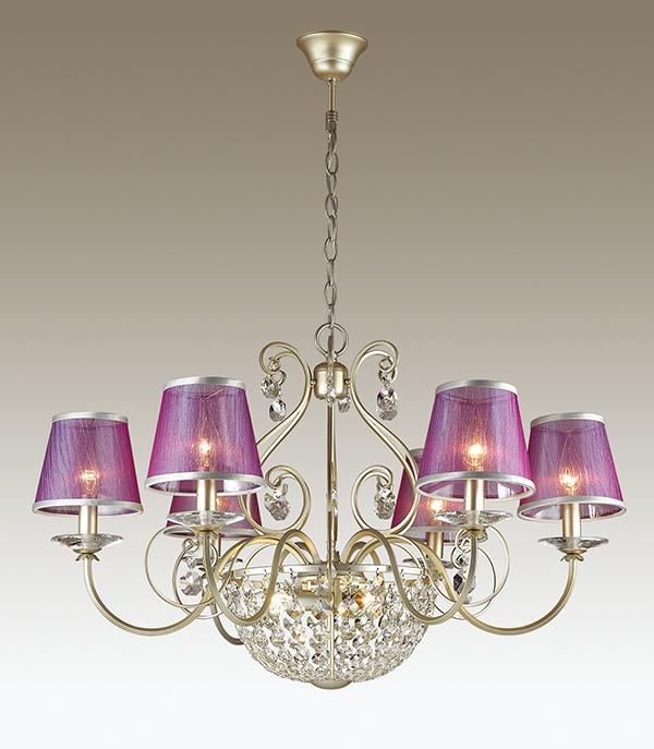 Подвесная люстра Odeon Light Zibille 3396/9, 9xE14x40W, золото, фиолетовый, прозрачный, металл, текстиль, хрусталь - фото 1
