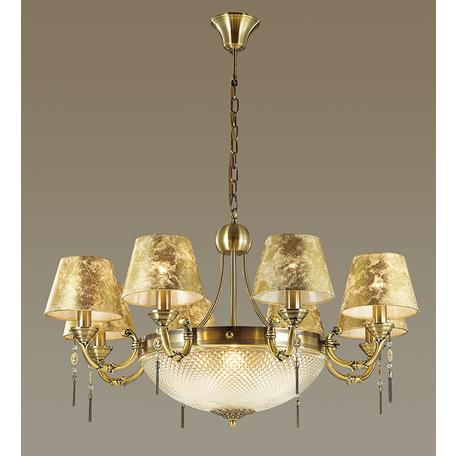 Подвесная люстра Odeon Light Flavia 3413/12, 12xE14x40W, бронза, прозрачный, хром, металл, стекло, текстиль, хрусталь