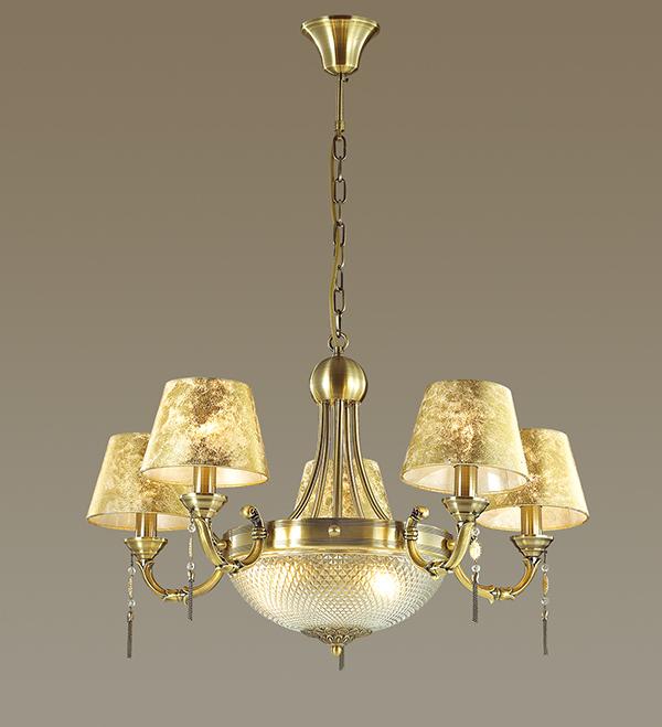 Подвесная люстра Odeon Light Flavia 3413/8, 8xE14x40W, бронза, металл, текстиль, металл с хрусталем - фото 1