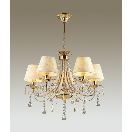 Подвесная люстра Odeon Light Plesansa 3431/5, 5xE14x40W, золото, белый, прозрачный, металл, текстиль, хрусталь