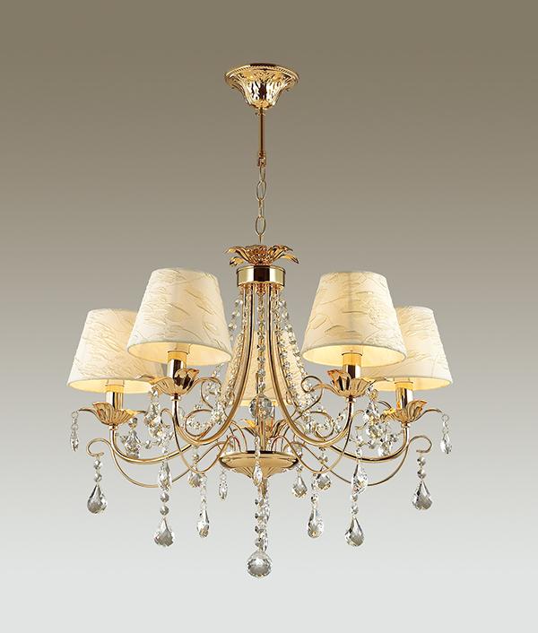 Подвесная люстра Odeon Light Plesansa 3431/5, 5xE14x40W, золото, белый, прозрачный, металл, текстиль, хрусталь - фото 1