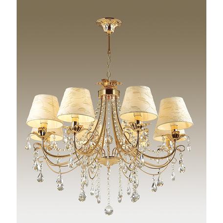 Подвесная люстра Odeon Light Plesansa 3431/8, 8xE14x40W, золото, белый, прозрачный, металл, текстиль, хрусталь