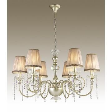 Подвесная люстра Odeon Light Aurelia 3390/6, 6xE14x40W, золото, прозрачный, бежевый, фиолетовый, металл, текстиль, хрусталь - миниатюра 1