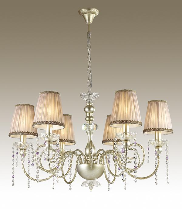 Подвесная люстра Odeon Light Aurelia 3390/6, 6xE14x40W, золото, прозрачный, бежевый, фиолетовый, металл, текстиль, хрусталь - фото 1