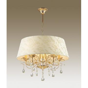 Подвесная люстра Odeon Light Plesansa 3431/5A, 5xE14x40W, золото, белый, прозрачный, металл, текстиль, хрусталь
