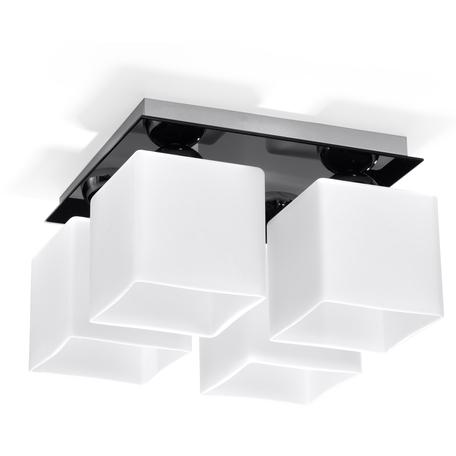 Потолочная люстра Sollux Piazza SL.0224, 4xE27x60W, черный, белый, стекло