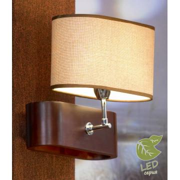 Бра Lussole Loft Nulvi GRLSF-2101-01, IP21, 1xE27x10W, коричневый, бежевый, дерево, текстиль